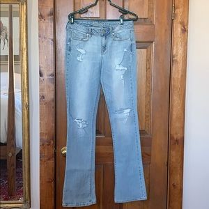 AE Skinny Kick Stretch Faded Distressed Jeans 10XL